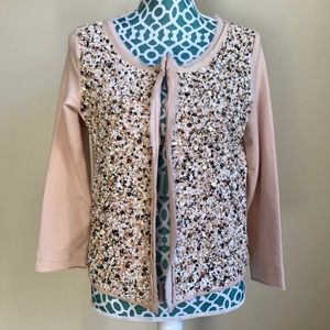 Anthropologie Heavily Beaded Blush Cardigan